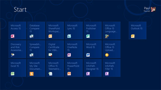 Microsoft Office 15 Start Page