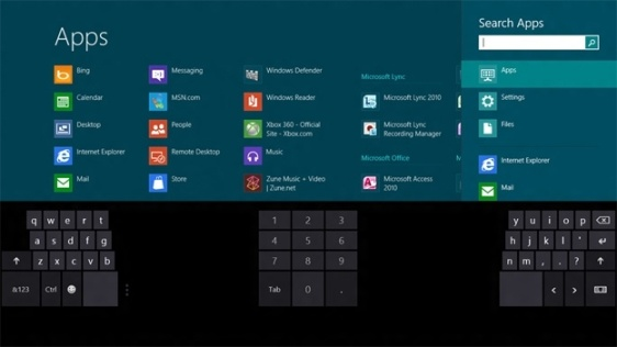 Windows 8 Applications Screen in a Touch Screen Environment
